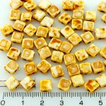 Square Silky Two Hole Flat Czech Beads - Picasso Alabaster White - 6mm