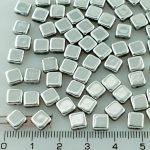 Square Silky Two Hole Flat Czech Beads - Crystal Silver - 6mm