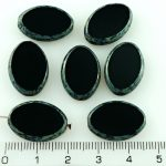 Oval Window Table Cut Flat Large Czech Beads - Picasso Opaque Black - 20mm