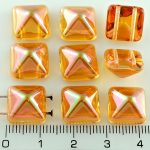 Pyramid Stud Two Hole Czech Beads - Crystal Yellow Orange Apricot Luster - 12mm