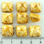 Pyramid Stud Two Hole Czech Beads - Picasso Brown White - 12mm