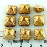Pyramid Stud Two Hole Czech Beads - Alabaster Picasso Brown Purple Gold Luster - 12mm