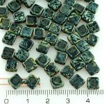 Square Silky Two Hole Flat Czech Beads - Picasso Black - 6mm
