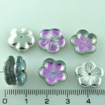 Flower Cup Large Flat Czech Beads - Crystal Silver Light Vitrail Purple Turquoise Half - 14mm