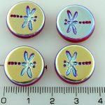 Coin Round Rustic Dragonfly Flat Czech Beads - Opaque Red Full AB - 17mm