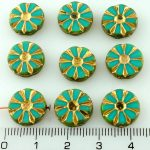 Flower Coin Table Cut Flat Czech Beads - Picasso Turquoise Green Gold - 12mm
