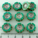 Hawaiian Flower Coin Czech Flat Carved Table Cut Beads - Picasso Turquoise Green Silver Pink - 14mm