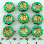 Hawaiian Flower Coin Czech Flat Carved Table Cut Beads - Picasso Turquoise Green Gold - 14mm