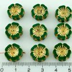 Hawaiian Flower Coin Czech Flat Carved Table Cut Beads - Picasso Dark Green Gold - 14mm