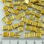 Square Flat Tile One Hole Czech Beads - Crystal Gold Half - 6mm