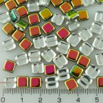 Square Flat Tile One Hole Czech Beads - Crystal Purple Green Yellow Vitrail Half - 6mm