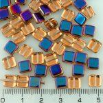 Square Flat Tile One Hole Czech Beads - Crystal Iris Purple Half - 6mm