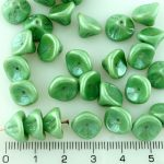 Bell Flower Lily Of The Valley Caps Czech Large Beads - Italian Green Luster - 10mm