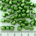 Pyramid Stud Two Hole Czech Beads - Pearl Pastel Sage Olive Green - 6mm