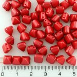 Pyramid Stud Two Hole Czech Beads - Pearl Pastel Dark Coral Red - 6mm