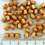 Pyramid Stud Two Hole Czech Beads - Pearl Pastel Amber Gold - 6mm