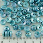 Piggy Czech Two Hole Beads - Gray Blue Luster - 8mm