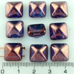 Pyramid Stud Two Hole Czech Beads - Crystal Purple Violet Luster Bronze - 12mm