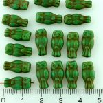 Owl Bird Animal Small Two-Sided Czech Beads - Picasso Opaque Turquoise Green - 15mm