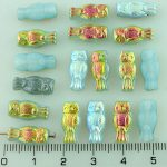 Owl Bird Animal Small Two-Sided Czech Beads - Opal White Blue Rainbow - 15mm
