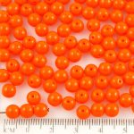 Round Czech Beads - Opaque Orange - 6mm