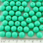 Round Czech Beads - Opaque Turquoise Green - 8mm