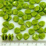 Flower Petal Czech Beads - Green - 8mm