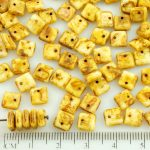 Square Paillettes Squarelet One Hole Chips Czech Beads - Picasso Brown Alabaster White - 6mm