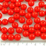 Round Czech Beads - Opaque Red Apple - 8mm