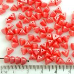 Half Pinch Large Czech Beads - Pastel Pearl Light Coral Red - 7mm
