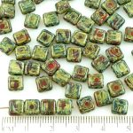 Square Flat Tile One Hole Czech Beads - Picasso Coral Red Opaque - 6mm