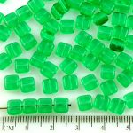 Square Flat Tile One Hole Czech Beads - Crystal Green Clear - 6mm