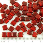 Square Flat Tile One Hole Czech Beads - Coral Red Black Striped Mix Opaque - 6mm