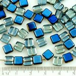Square Flat Tile One Hole Czech Beads - Crystal Metallic Blue Azure Half - 6mm