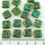 Square Window Table Cut Carved Flat Czech Beads - Picasso Crystal Aqua Blue - 10mm
