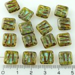 Square Window Table Cut Carved Flat Czech Beads - Picasso Crystal Light Aqua Blue - 10mm