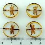 Coin Round Dragonfly Window Flat Czech Beads - Picasso Crystal Rustic - 17mm
