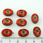 Oval Kiwi Window Table Cut Flat Czech Beads - Picasso Brown Orange Striped Rustic - 14mm