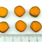 Coin Round Window Table Cut Flat Czech Beads - Picasso Yellow Opal Striped - 15mm
