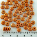 Disc Flat Disk One Hole Czech Beads - Pink Red Gold Luster - 6mm