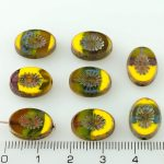 Oval Kiwi Window Table Cut Flat Czech Beads - Picasso Brown Yellow Blue Purple - 14mm