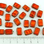 Rectangle Table Cut Flat Czech Beads - Picasso Brown Yellow Orange Amber Opal - 12mm
