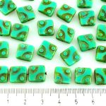 Square Window Table Cut Flat Dotted Czech Beads - Picasso Opaque Turquoise Green - 10mm
