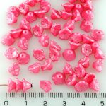 Bell Flower Caps Czech Beads - Pearl Shine Pink - 7mm