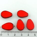 Teardrop Flat Window Table Cut Czech Beads - Picasso Brown Opaque Coral Coraline Red - 18mm