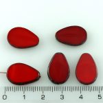 Teardrop Flat Window Table Cut Czech Beads - Picasso Brown Opaque Red - 18mm