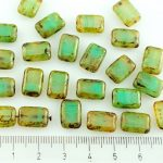Rectangle Table Cut Flat Czech Beads - Picasso Brown Turquoise Green Opal - 12mm