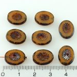 Oval Kiwi Window Table Cut Flat Czech Beads - Picasso Brown Blue Opaque Beige - 14mm