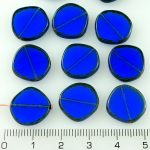 Coin Round Window Table Cut Flat Czech Beads - Picasso Brown Crystal Sapphire Blue - 15mm