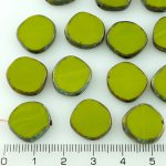 Coin Round Window Table Cut Flat Czech Beads - Picasso Opaque Olive Green - 15mm